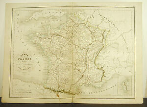 La-France-Split-86-County-Card-Antique-1838-Ancient-Map-17-11-16in-15in