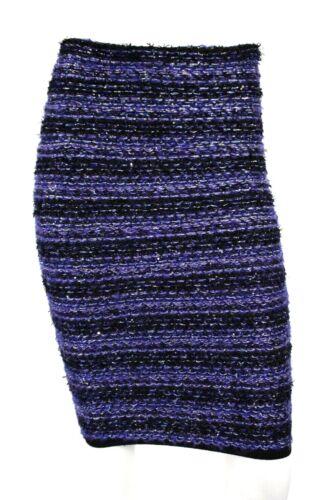 BALMAIN Metallic Blue & Black Striped Sequin Tweed