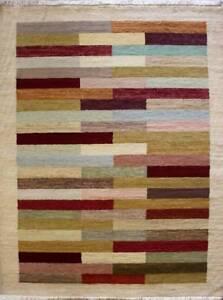 Rugstc-5-5x8-Senneh-Gabbeh-Multicolor-Alfombra-Vegetal-Tinte-Anudado-a-Mano-Lana