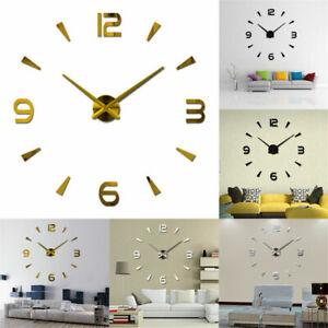 ular 3D Large Mirror Surface Wall Clock Sticker Home Decor Office Prof BN N9X6