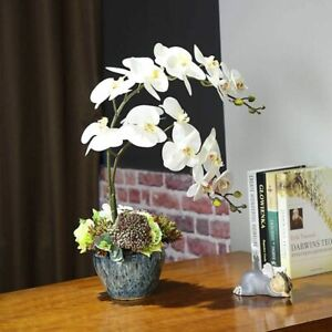 Artificial Flowers Silk White Orchid Branch Wedding Home Vase Party Decoration