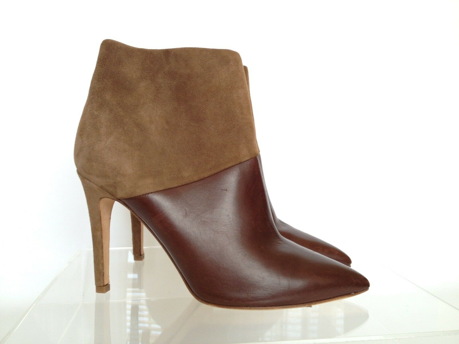 J.CREW Leather and Suede Ankle Boots Hight Heel 7 Brown 02973  375