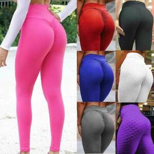 Women High Waist Yoga Pants PUSH UP Anti Cellulite Leggings Scrunch Trousers O1