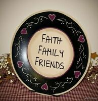 Faith Family Friends Inspirational Primitive Wood Plate Country Home Decor