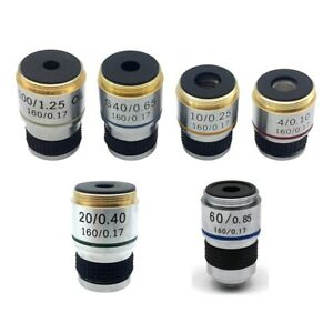 4X-10X-20X-40X-60X-100X-Achromatic-Objective-Lens-f-Biological-Microscope-185mm