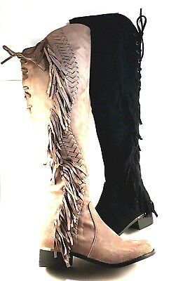 Lady Couture Fringe Taupe Suede Over