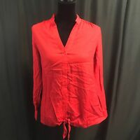 Jennifer & Grace Woman Red Long Sleeve Button Down Shirt Roll Up Size Sm