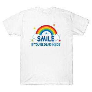 Smile If You/'re Dead Inside Rainbow Vintage Dark Humor Retro Men/'s T-Shirt Tee