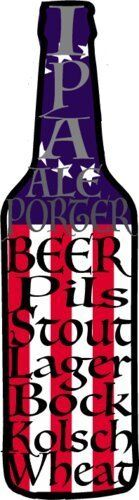 Beer Bumper Sticker BEER Decal Beer Bottle with Beer Styles Vinyl Sticker