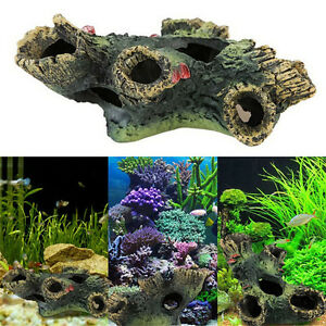 Aquarium 12cm log tree hide hiding cave fish tank for Aquarium log decoration