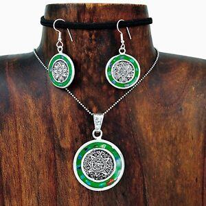 Hand-Made-Aztec-Calendar-Green-Opal-Pendant-Earring-Set-Taxco-Mexico