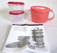 Lot Of Tupperware: Crystalwave Soup Mug + 2 Small Bowls W/ Lids