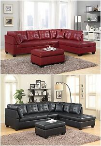 Details about Brand New Pu Leather Living Room Furniture Sectional Sofa Set  in Black/Red