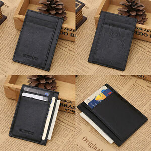 Wallet-slim-money-clip-credit-card-holder-ID-business-mens-genuine-leather-Black