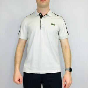 Vintage LACOSTE Sport Polo Shirt medium beige à manches courtes