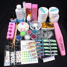 New Nail Art Kits Acrylic UV Gel Glitter Powder Glue Tips Brush Nail Sticker Set