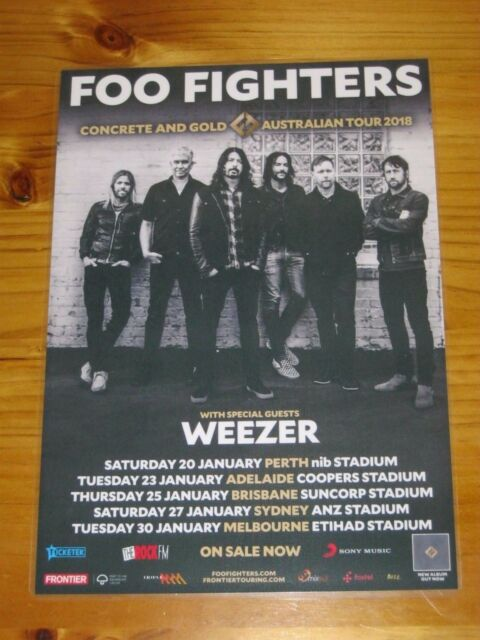 FOO FIGHTERS WEEZER 2018 Laminated Australia Tour Poster 2nd Release OFFICIAL..