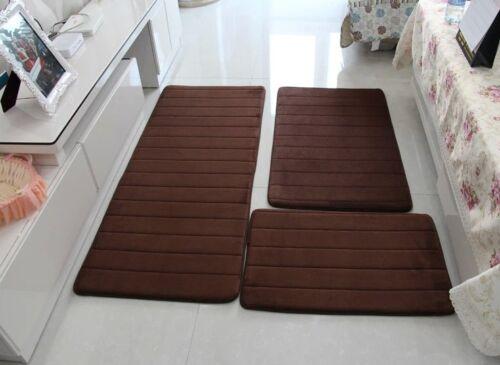 Modern Floor Anti-Silp Rugs For Bathroom Toliet Memory Foam Mat 3Pcs//set New Hot