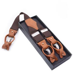 Mens-35x1250mm-Clips-Buttons-Braces-Leather-Suspenders-Y-Shape-Heavy-Duty