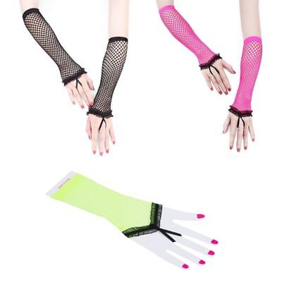 Womens Hollow Out Sheer Punk Elbow Long Fingerless Gloves Fishnet Party Mittens