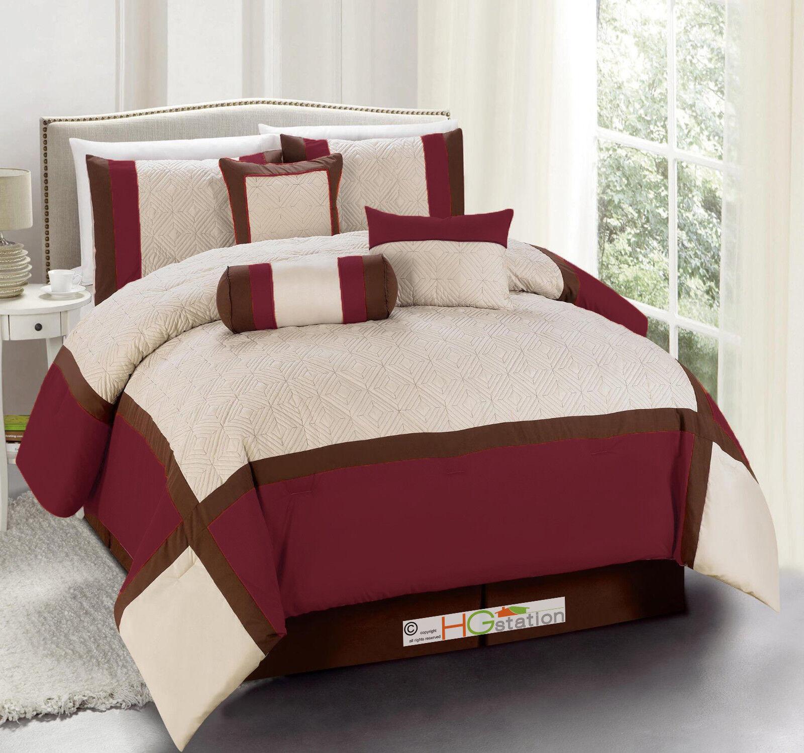7-Pc Quilted Diamond Square Patchwork Modern Comforter Set Burgundy braun King
