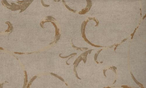 Wallpaper Designer Dark Reflective Gold Scroll on Taupe Faux