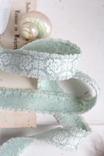 1€//m süßes Band grün waschbar 18mm Blumen Ornament Schleifenband nähen Dekoband
