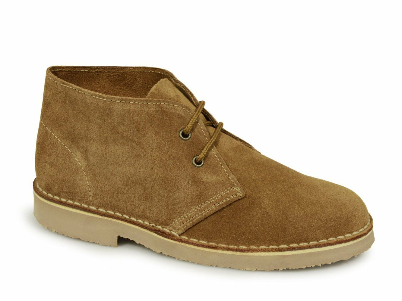 Roamers ORIGINAL Unisex Mens Ladies Soft Suede Leather Lace Up Desert Boots Sand