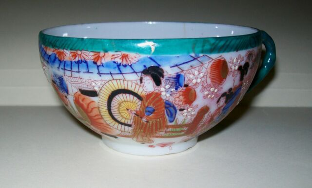 VINTAGE, HAND PAINTED PORCELAIN JAPANESE CUP - beautiful design