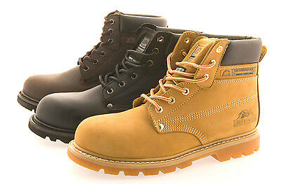 Mens Gents Boys Comfort Work Safety Boots Steel Toe Cap Waterproof Non Slip Sole
