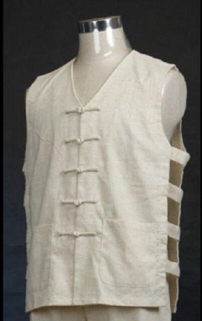 Chinese men's linen Kung Fu shirt tops Beige SZ: M L XL XXL XXXL