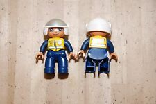 Lot of 2 Lego Duplo Police Officer Cop w/ Motorcycle Helmet