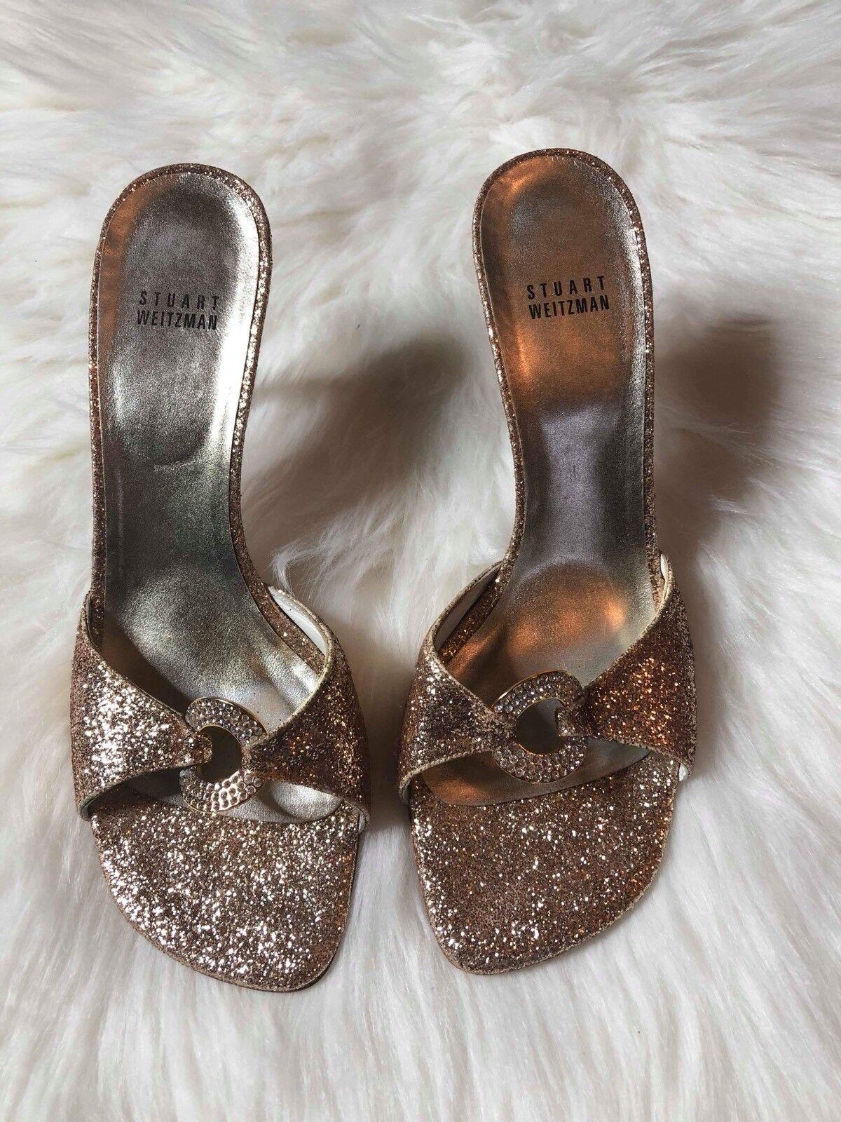 Stuart Weitzman Womens Size 9.5 Medium Mule Pumps gold Glitter Rhinestones