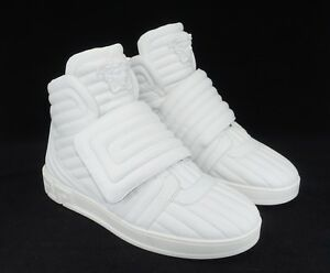 c0754b0392 Details about Versace Men's Eros Leather Quilted Greek Key High-Top  Sneakers, White, MSRP $995
