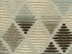 Brown Blue Drapery Upholstery Fabric Jacquard /& Chenille Geometric Gold