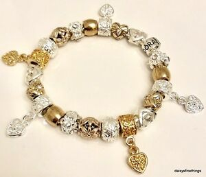 Image Is Loading Authentic Pandora Bracelet W Charms Two Tone Hearts