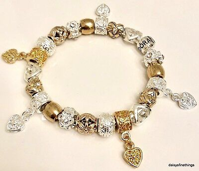 Authentic Pandora Bracelet W Charms Two Tone Hearts And Love Choice Of Box Ebay