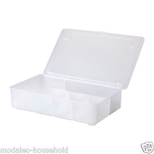 ikea glis transparent clear pencil storage box compartments hinged lid uk b786 ebay. Black Bedroom Furniture Sets. Home Design Ideas