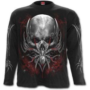 Spiral-Direct-Black-Widow-Spider-Skull-Web-Gothic-Black-Long-Sleeved-T-shirt