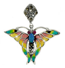Entzückender Anhänger Schmetterling Email Silber