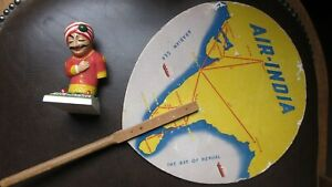 Air-India-early-advertising-fan-and-Maharajah-figurine-hand-missing