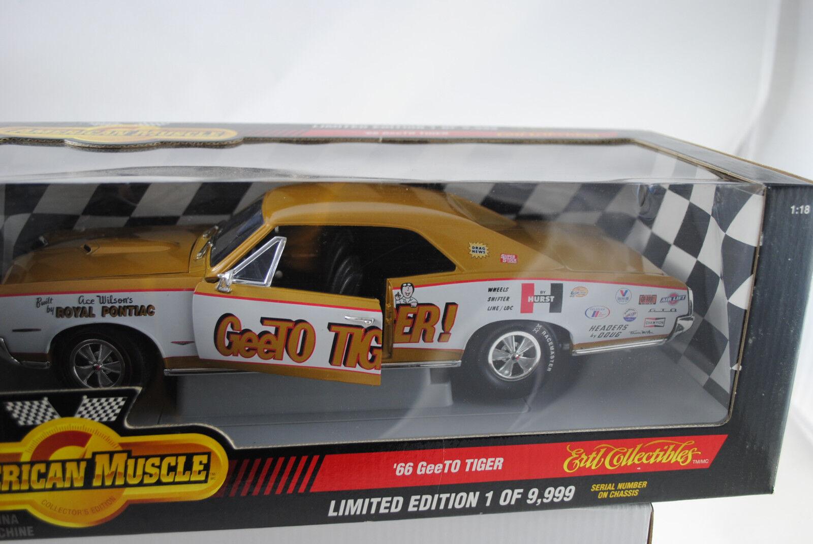1 18 ertl 1966 Pontiac GTO geeto tiger oro blanco-rareza nuevo en el embalaje original