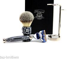 Premium Rasur Geschenkset für Männer(rasierpinsel,fusion rasierer,stahl halter)