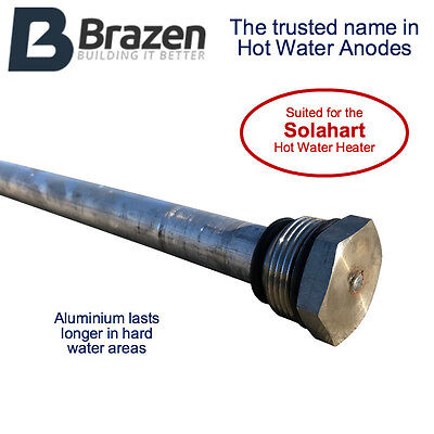 """SolaHart Hot Water Anode Replacement for """"Hard Water"""" Sola Solar Hart Heart"""