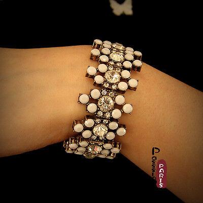 Bracelet Elastique Blanc Cristal Ancien Style Original Soirée Mariage Cadeau CT3