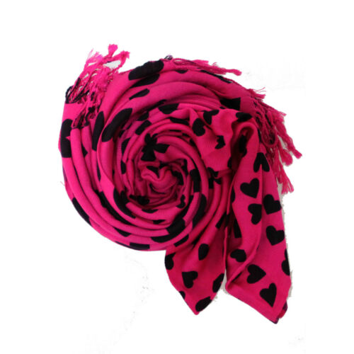 Heart Print Floral Pashmina Shawl Scarf Wrap Hijab