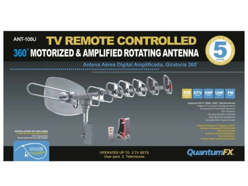 QuantumFX QFX ANT-105 HD//DTV//UHF//VHF//FM 360 Degree Motorized Rotating Antenna