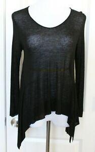 Eileen-Fisher-Black-Top-Sheer-Long-Sleeve-Drape-Shirt-Linen-Blend-Sz-S-Small-EUC