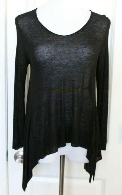 Eileen Fisher Black Top Sheer Long Sleeve Drape Shirt Linen Blend Sz S Small EUC