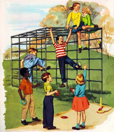 Vintage 50/'s School Monkey Bars 14 x 11 Photo Print